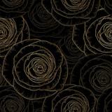 Bezszwowe rysunek kwiatowy tło z złote róże kwiatowe. Ilustracji wektorowych. - 158845870