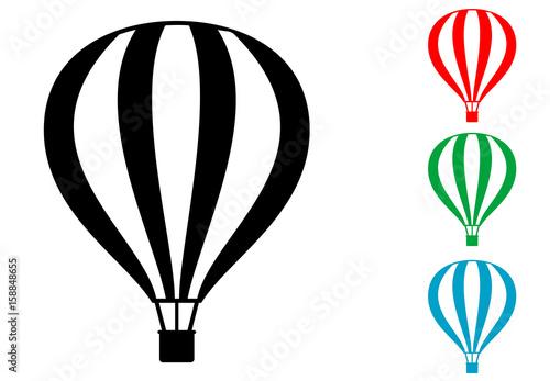 Fotografie, Obraz  Icono plano globo aerostatico varios colores