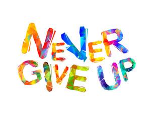 Obraz NEVER GIVE UP. Motivation inscription
