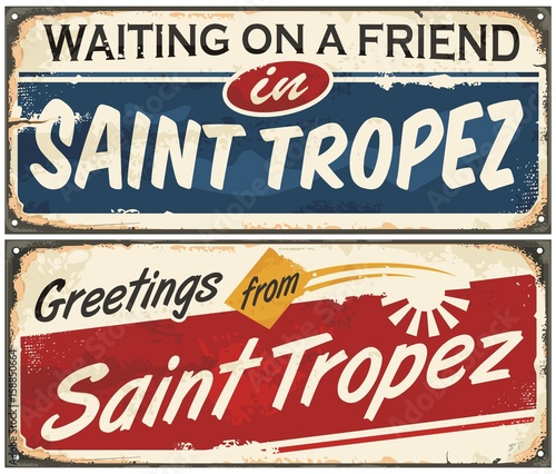 Valokuva Saint Tropez retro signs set on old vintage metal texture.