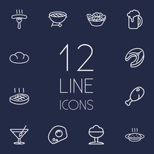 Set Of 12 Food Outline Icons S...