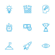 Set Of 9 Strategy Outline Icon...