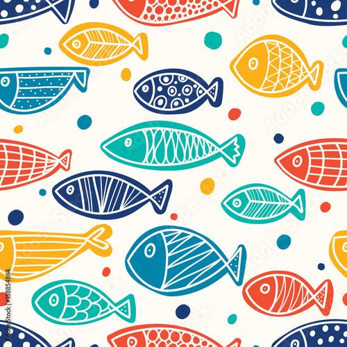 obraz dibond Cute fish. Vector seamless pattern.