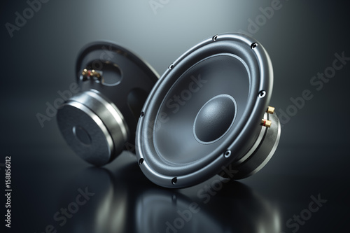 Fotografie, Obraz  Two sound speakers on black background 3d render