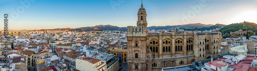 Cityscape of Malaga Cathedral and city at dawn Wallpaper Mural