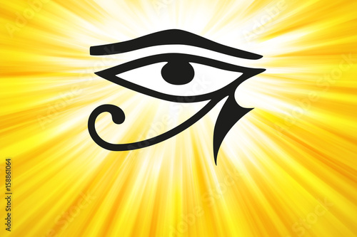 Eye Of Horus And Golden Light Rays Ancient Egyptian Symbol Of