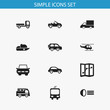 Set Of 12 Editable Transport Icons. Includes Symbols Such As Carriage, Navigation, Luminary And More. Can Be Used For Web, Mobile, UI And Infographic Design.