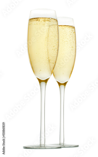 glasses of champagne isolated on a white background