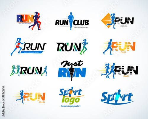 Foto  Sport club, running club vector labels and emblems, logotypes, badges