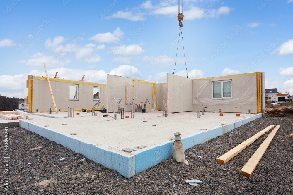 Fototapeta Building the energy efficient house. Structural insulated panels with plastic tubes in foundation