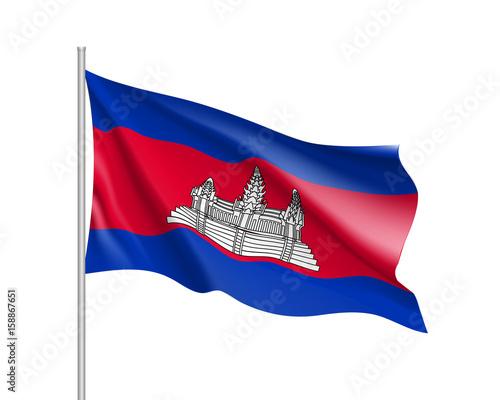 Foto  Waving flag of Cambodia