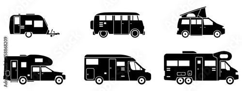 Obraz na plátně Camping - Verschiedene Wohnmobile (in Schwarz)