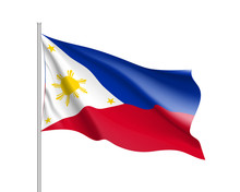 Waving Flag Of Philippines Republic. Illustration Of Asian Country Flag On Flagpole. Vector 3d Icon Isolated On White Background