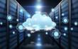 Leinwandbild Motiv virtual cloud hologram over futuristic server room