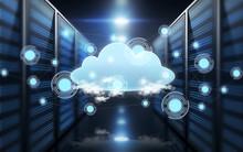 Virtual Cloud Hologram Over Futuristic Server Room