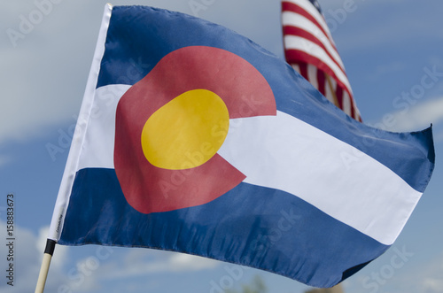 Colorado State Flag Waving in the Breeze