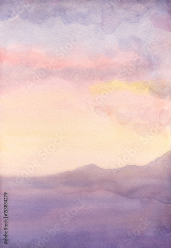 Photo Stands Candy pink Watercolor seascape. Sunset