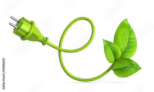 e-shaped green power plug with leaves #158886210