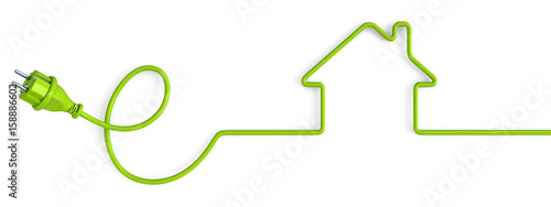 Fototapeta Green power plug bent in a house shape obraz