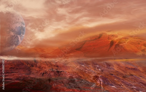 Fantastic martian landscape . Planet Mars .Elements of this image furnished by NASA .