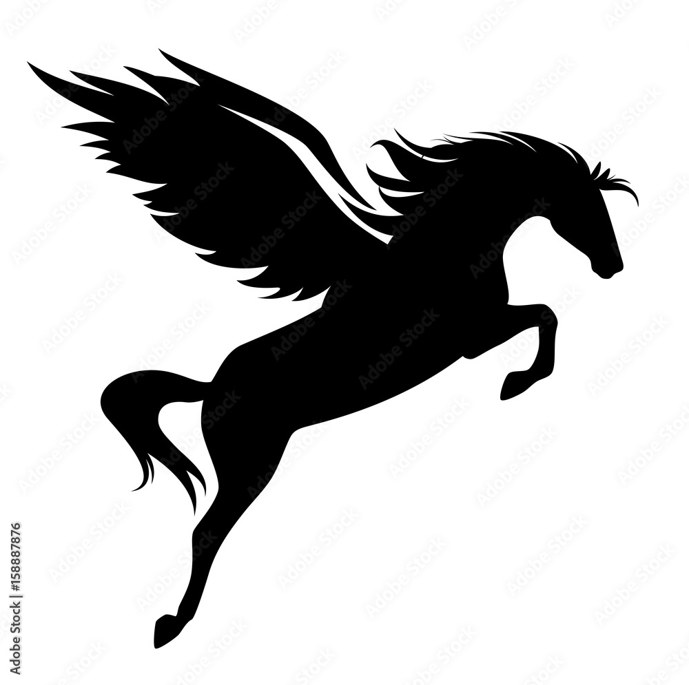 Fotografia jumping pegasus - winged horse black vector design