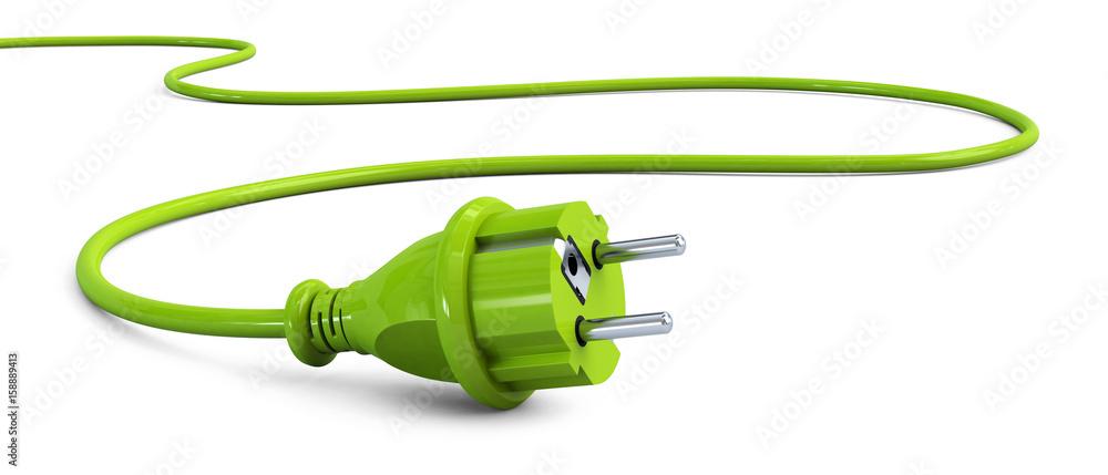Fototapeta Green power plug lying on the floor
