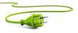 Leinwanddruck Bild - Green power plug lying on the floor