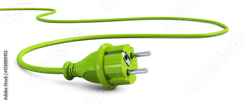 Green power plug lying on the floor