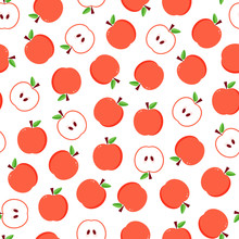 Flat Design Red Apples Seamles...