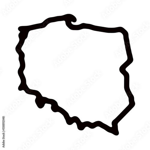 Obraz Mapa Polski - kontury - fototapety do salonu