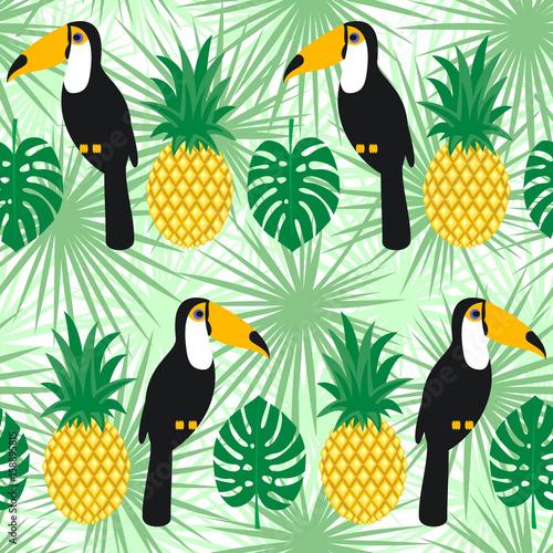 liscie-palmowe-tropikalny-z-tukany-i-ananasy-wzor-tlo-zielone-liscie-modna-ilustracja-dzungli-tlo-lato-moda-ladny