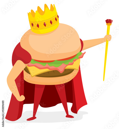 Hamburger king wearing a crown