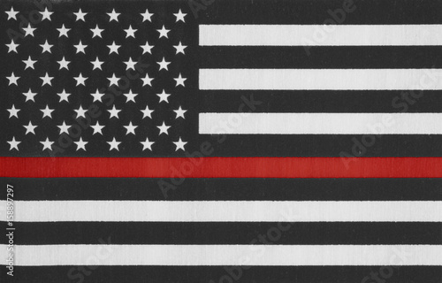 Photo  United States of America thin red line flag