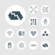 Machine Learning Icons Set. Collection Of Mechanism Parts, Related Information, Lightness Mode And Other Elements. Also Includes Symbols Such As Analysis, Robot, Microprocessor.