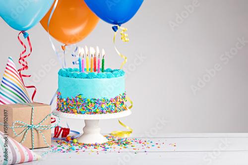 Photo  Blue Birthday Cake