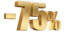 3d Render Illustration. Golden Seventy Five Percent On A White Background.