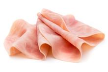 Thin Slices Of Ham On White Background.