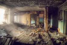 Interior View Of The Destroyed Room In An Abandoned House