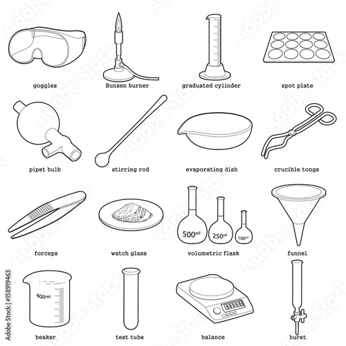 Chemical laboratory tools icons set, outline style Canvas-taulu