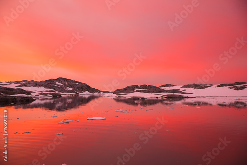 Magical sunset in Antarctica Canvas Print