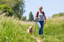 Mature Woman Hiking With Dog I...