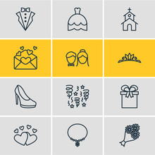 Vector Illustration Of 12 Marriage Icons. Editable Pack Of Jewelry, Building, Card And Other Elements.