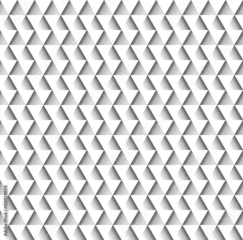 Fotografering  White geometric seamless pattern of triangles