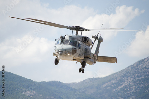 Tuinposter Helicopter Black hawk helicopter rescue team radar view