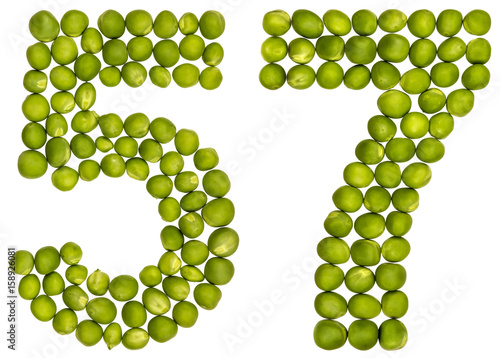 Fotografie, Obraz  Arabic numeral 57, fifty seven, from green peas, isolated on white background