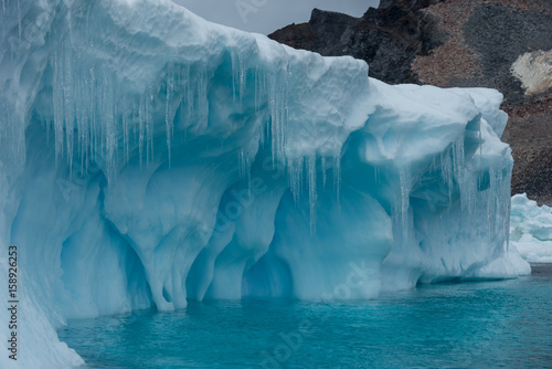 Iceberg and icicles in Antarctica