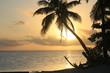 南の島タヒチのビーチで黄金の夕日と夕焼け Golden Sunset in Tahiti paradise