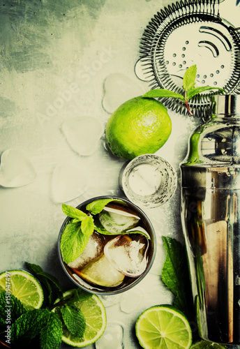 Alcoholic cocktail Cuba Libre, with rum, lime juice, cola and ice Canvas Print