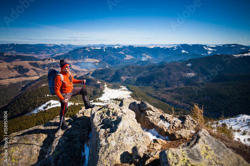 Foto op Aluminium Bergen Climber on top.
