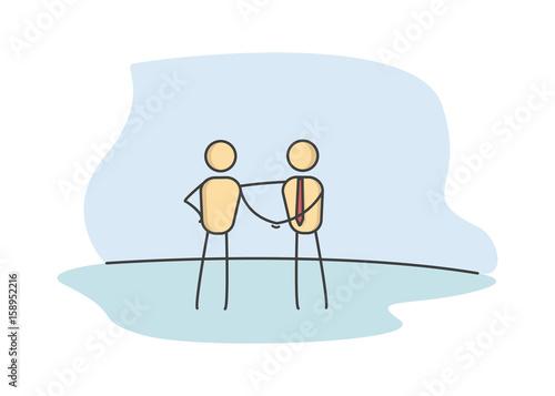 Stick Figures Shaking Hands Business Handshake Between 2 People